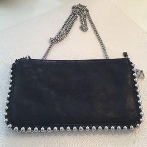 Zara black crossbody w silver chain